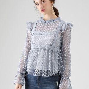 Chicwish Dream Crochet Top Blue Size S-M